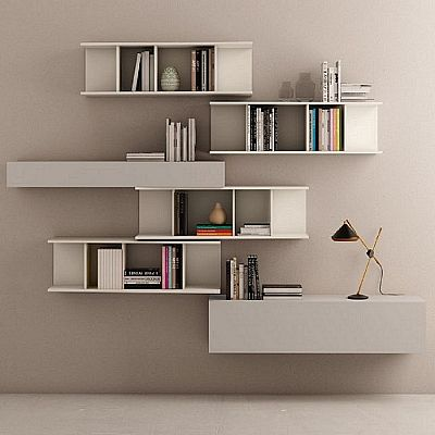 Beautiful, elegant 'Eva' bookshelves wall unit. Available in different colours. My Italian Living
