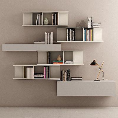 Beautiful, elegant 'Eva' bookshelves wall unit. Available in different colours. My Italian Living