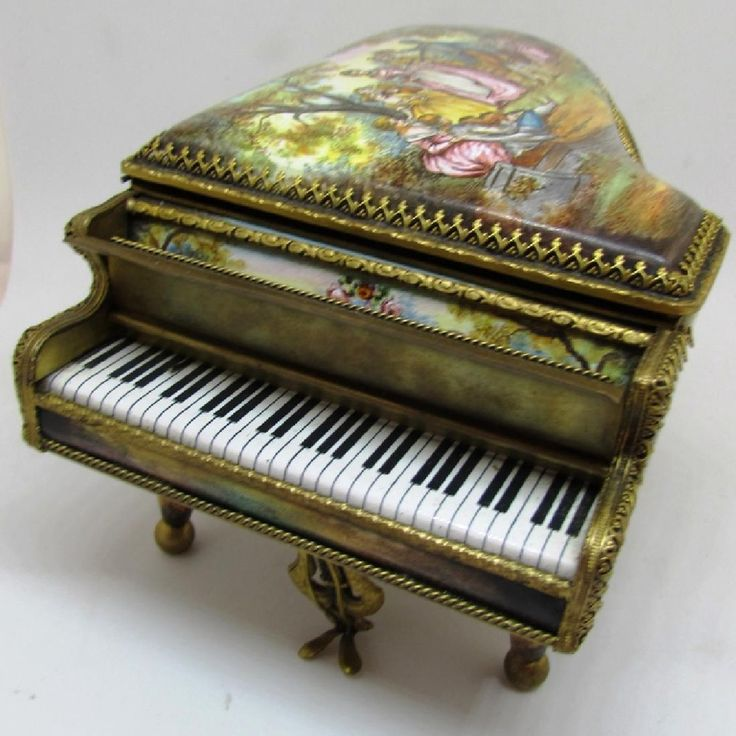 ANTIQUE ENAMEL PAINTED PIANO MUSIC BOX AUSTRIAN