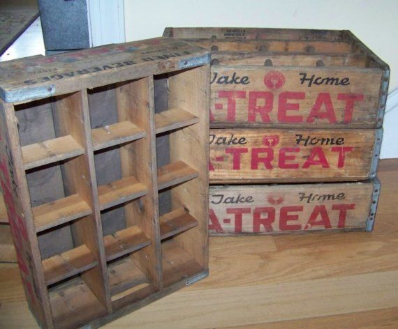 Soda crate a treat shelf or display case vintage wood for Wooden soda crate ideas