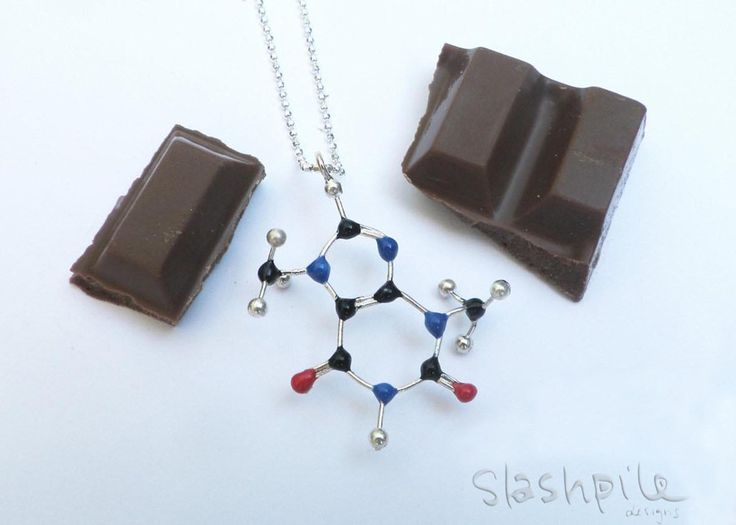 Chocolate Molecule Necklace (Theobromine) - C7H8N4O2 Chocoholics Anonymous: This necklace is for anyone who is addicted to, in love with or dependant on chocolate! Who can resist that delicious flavour and smooth, melt-in-your-mouth texture. We certainly can't!