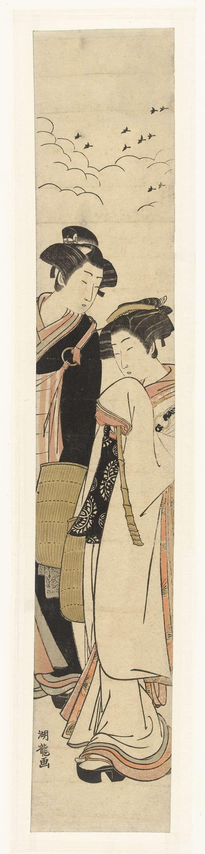 Isoda Kôryûsai | Geliefden Komurasaki en Gompachi vermomd als bedelmonniken, Isoda Kôryûsai, 1770 - 1780 | Man in zwarte kleding en rood-wit gestreepte schoudertas, kijkend naar vrouw in witte kleding met zwarte schoudertas en bamboe fluit; beiden een rieten hoed in handen.