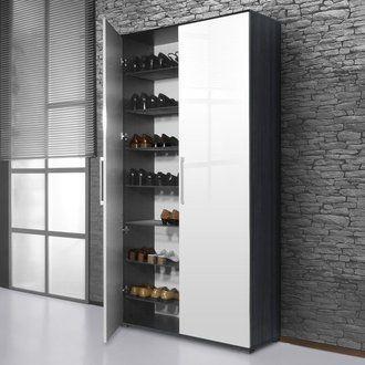 meuble chaussures 40 paires 2 portes en bois l100xp35xh200cm owen. Black Bedroom Furniture Sets. Home Design Ideas