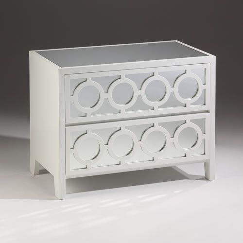 Rectangular Cabinet With Lacquered White Finish, Mirrored Top, Two Drawers  With Mirrored Panels And