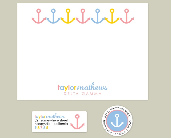 Stationary just as unique and adorable as you are, sis! Check out Erin Condren's new personalized line of Delta Gamma note cards that come with return address labels. You will love this one!