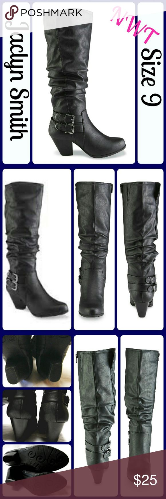 NIB Sz 9 Slouch Boot from Jaclyn Smith NIB ..Take your casual look to a trendy level in this women's Exton slouch boot from Jaclyn Smith. Made with a black synthetic leather upper, this Cuban heel boot zips on easily, while silvertone buckle strap detailing and a scrunched shaft give you standout style you crave.   ~Knee height  ~Side zip closure  ~Shaft height: 14 in.  ~Shaft circumference: 16 in.  ~2-3/4 in. Cuban heel. ~leather upper  ~Round toe  ~Fabric lining  ~Almond toe  ~Cushioned…