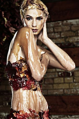 "Cycle 18: when the models went to Canada and so obviously posed for a shoot covered in maple syrup. | The 27 Weirdest ""America's Next Top Model"" Photoshoots"