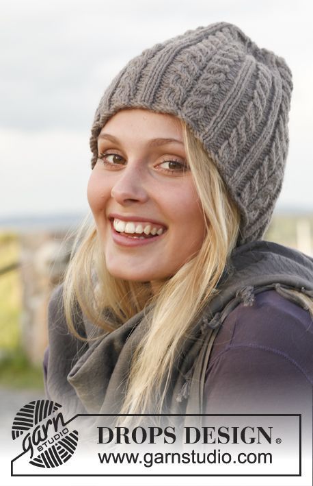 """Ice Age - Knitted DROPS hat with cables in """"Lima"""". - Free pattern by DROPS Design"""