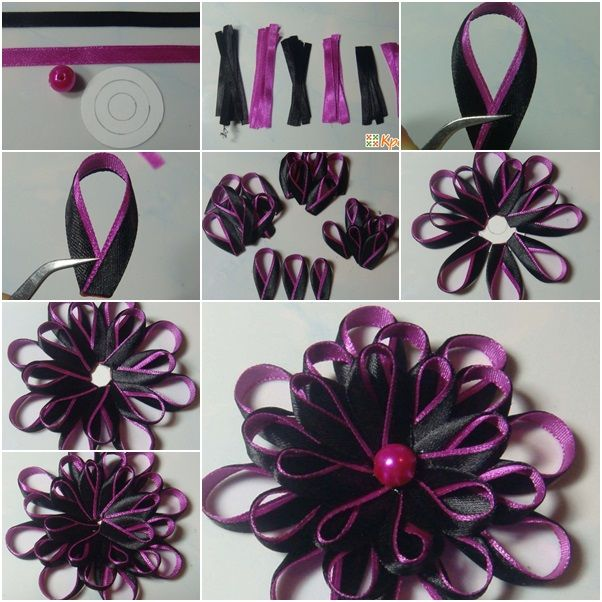 How to Make Bi-Colored Kanzashi Ribbon Flower with Round Petals