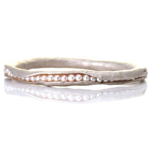 Silver pod bangle by Mashka Jewelry - Silver pod bangle with freshwater pearls - 275$
