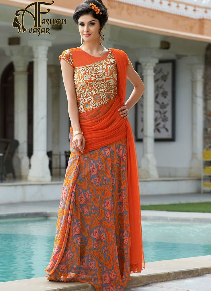 orange evening gown online india.We unfurl our the intricacy and exclusivity of our creations highlighted in this attractive Orange Georgette Gowns The love