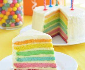 Questa torta arcobaleno mette allegria solo a guardarla! Preparatela per il compleanno del vostro bambino!