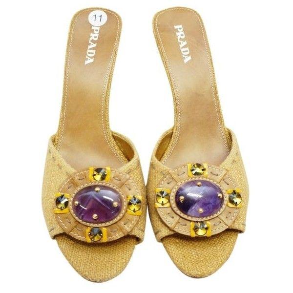 Prada New Linen Peep Toe Sandals Amethyst Heelss 11 M Boho Tan Wedges ($362) ❤ liked on Polyvore featuring shoes, sandals, wedge sandals, summer wedge sandals, high heel shoes, bohemian sandals and tan sandals