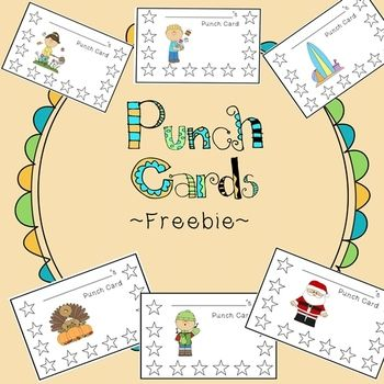 Seasonal Punch Cards: Spice up your behavior management with these fun punch cards!  (FREE)