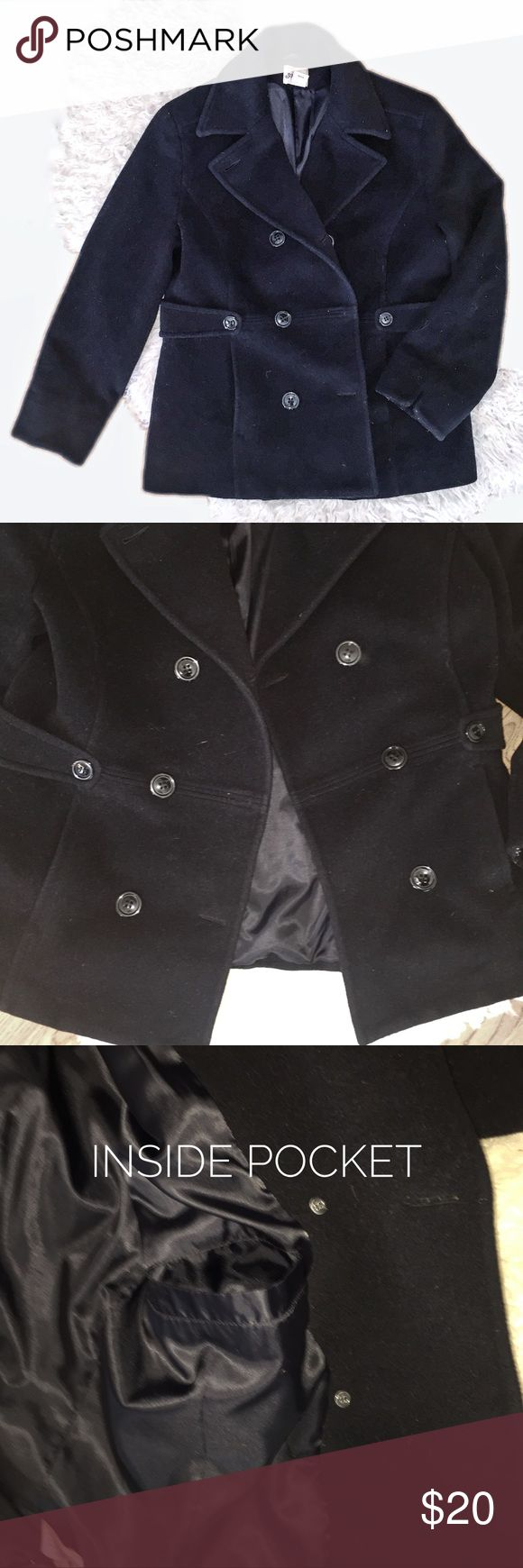 Black Pea Coat Women's black Pea Coat. Excellent condition! All buttons (including extras) are still attached! No visible flaws found!!! Large. Price is negotiable! To shy to make an offer? Bundle and I'll send you an offer! Jackets & Coats Pea Coats