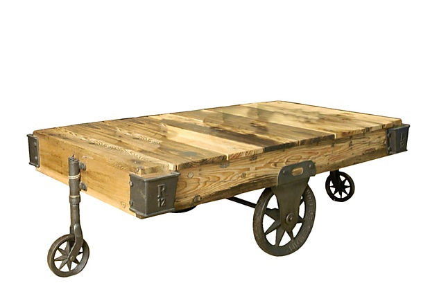 Love this coffee table on OKLCoffe Tables, Living Rooms, One King Lane, Industrial Table, Onekingslane Com, Factories Carts, Furniture, Carts Coffe, Industrial Coffee Tables