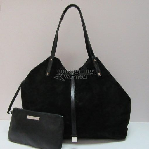 Tiffany & Co TRT Reversible black suede & black leather tote, pochette, palladium plated hardware, dust cover.