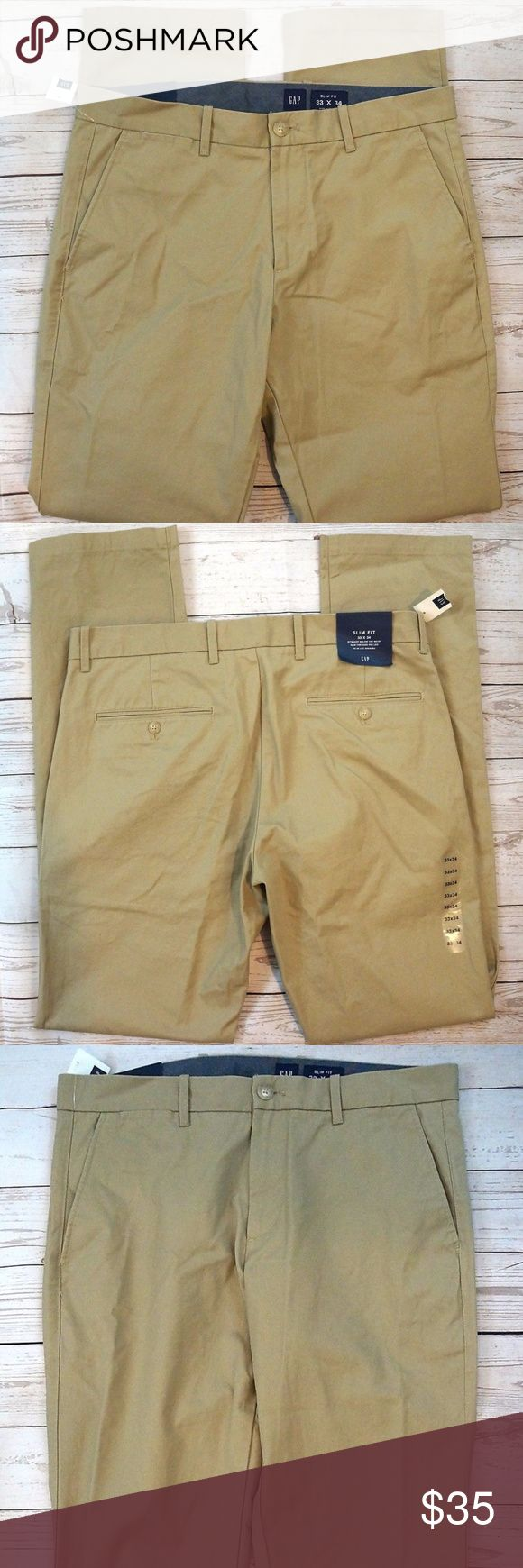 """Gap Slim Fit Clean Khaki Chino Academy Pants Gap Slim Fit Clean Khaki Chino Academy Mens Pants Size 33 X 34 NWT   Hand Measurements: Waist: 33"""" Inseam: 34"""" Rise: 10.5"""" Thigh: 25"""" Leg Opening: 7.5""""  All orders are shipped within 24 hours of payment Monday through Friday  PM#2103 GAP Pants Chinos & Khakis"""