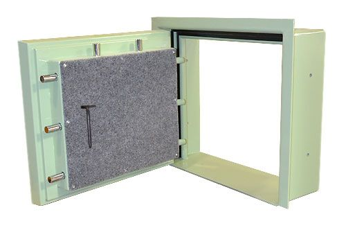 Custom fireproof pry resistant hatch door vault pro for Custom safe rooms