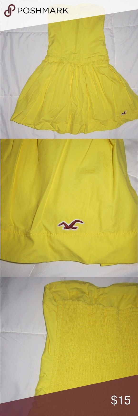 Hollister Skater Dress Strapless heart lined yellow Skater Dress. With mesh backing to stretch perfectly around your body. Hollister Dresses Strapless