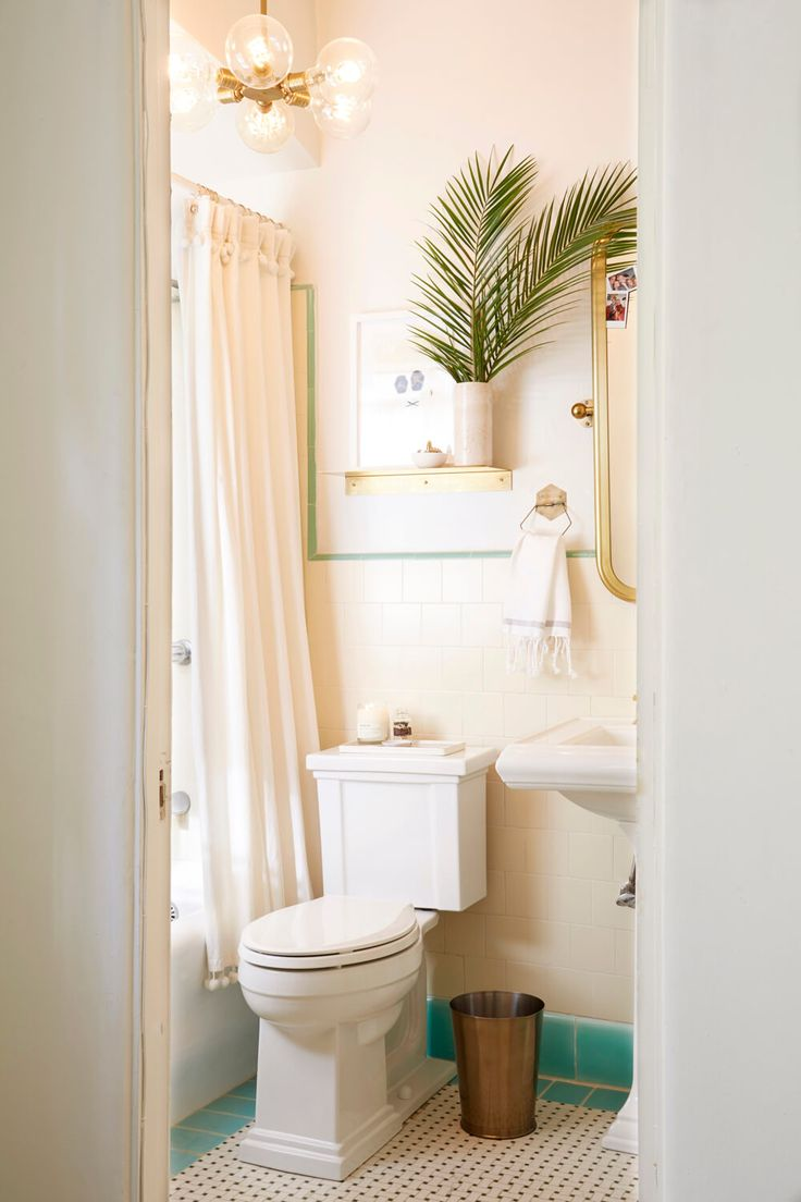 Apartment Rental Bathroom Makeover Takeover Redesign Brady Tolbert White and Turquoise