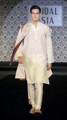 Textured Silk Linen Kurta - Indian Designers