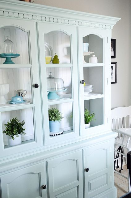 Craigslist Hutch Painted Aqua Smoke By Behr Color For Laundry Room Cabinets
