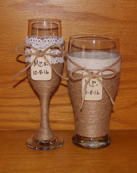 Personalized Champagne Flute / Woodland by CarolesWeddingWhimsy, Rustic Wedding Decoration, Rustic Wedding Champagne Flute and Beer Pislner - You can have Mr and Mrs with your date written on these mason jar tags on these Woodland Wedding Toasting Glasses, Country Wedding Glasses.  You can find them here https://www.etsy.com/listing/238625748/personalized-champagne-flute-woodland