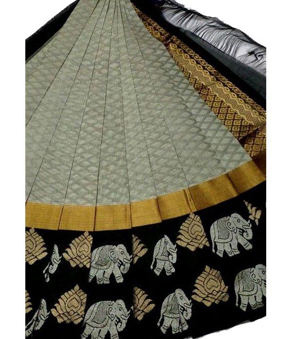 Grey Handloom Pure Kollam Silk Kuppadam Saree
