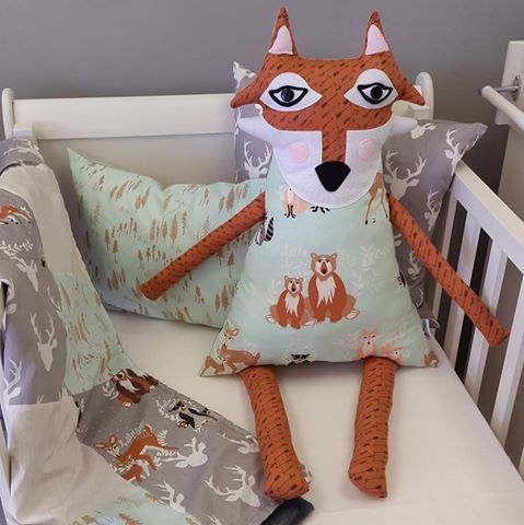 Our #WoodlandPals fabrics are perfect for a #WoodlandTheme nursery! Available in #Mint and #Grey, it works great for any #BabyBoy!   #BabyBedding #BabyLinen