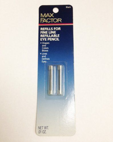 Max Factor Refills for Fine Line Refillable Eye Pencil for Eyes  Brows 01 Oz Net Wt 4 Refills Per Package  Black *** More info could be found at the image url.