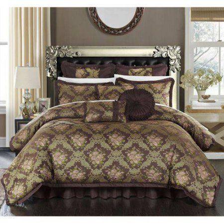 9 Piece Zanotti Decorator Upholstery Quality Jacquard Floral Fabric Complete Master Bedroom Comforter Set