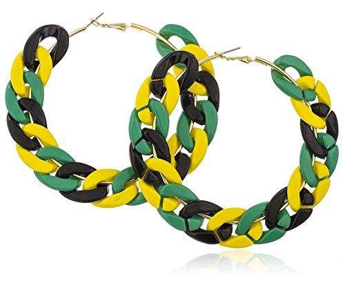 Goldtone Metal with Multi Jamaican Colors Plastic 3.5 Inches Chain Link Hoop Earrings JOTW http://www.amazon.com/dp/B00MPWF98Y/ref=cm_sw_r_pi_dp_f8bnvb0RRF99Q