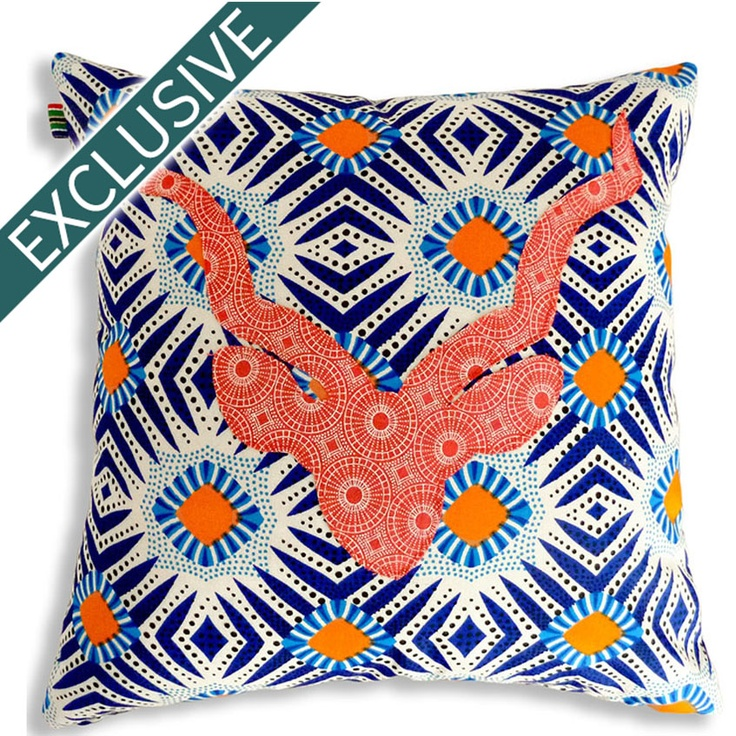 Mr Kudu Cushion Cover made from Shweshwe fabric and a bright East African print.