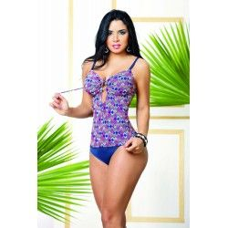 0362 Vestido de Baño Enterizo Tres Piezas, control abdomen por su diseño en PowerNet y Suplex estiliza tu figura