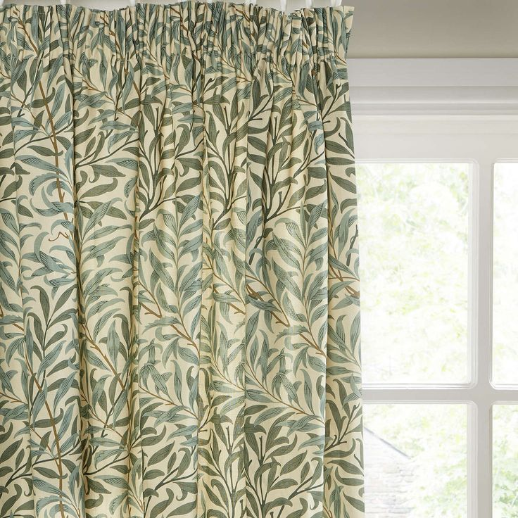 BuyMorris & Co Willow Bough Lined Pencil Pleat Curtains, Green, W167 x Drop 182cm Online at johnlewis.com