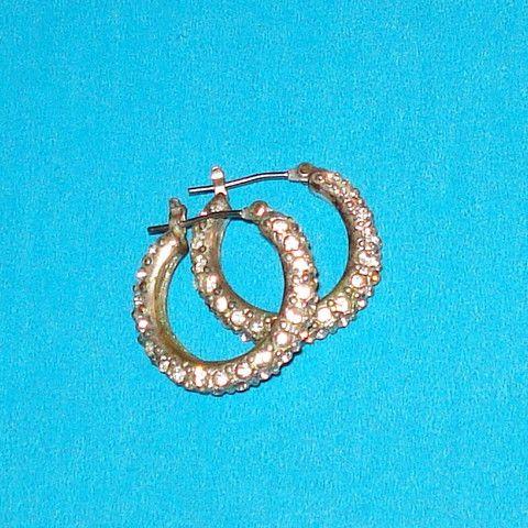 Rhinestone Hoop Earrings - Mookie Designs Vintage