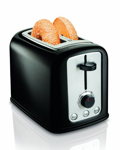 Hamilton Beach Cool-Touch 2-Slice Toaster (22464) - The Hamilton Beach Modern Chrome 2 Slice Toaster is perfect for bagels. The Bagel setting toast the cut side while gently warming the round side. Other functions include: 2 toasting functions, extra wide slots, automatic shutoff, toast boost and an easy clean up crumb tray.