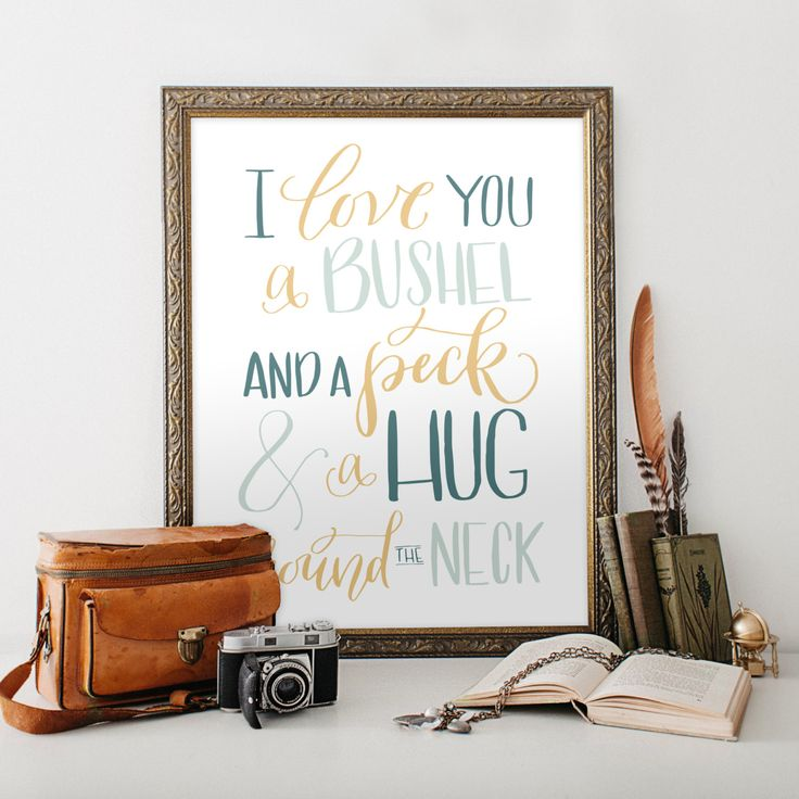I Love You a Bushel and a Peck and a Hug Around The Neck Wall Art, Printable Art PDF JPEG - Gender Neutral Nursery Art- Childs Room Decor by HewittAvenue on Etsy