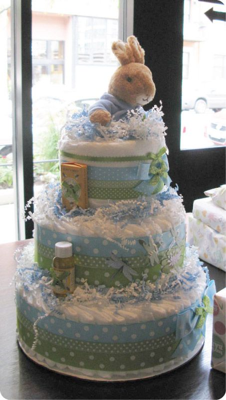 Peter Rabbit Baby Shower Diaper Cake