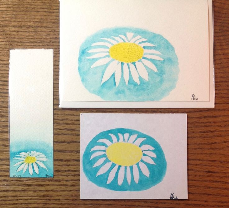 Christmas Gift, Gift for Her, Coworker Gift, Stocking Stuffer,Gift Under 20, Original Watercolor,Greeting Card, Bookmark, Daisy art panel by FreeFlowingPaint on Etsy