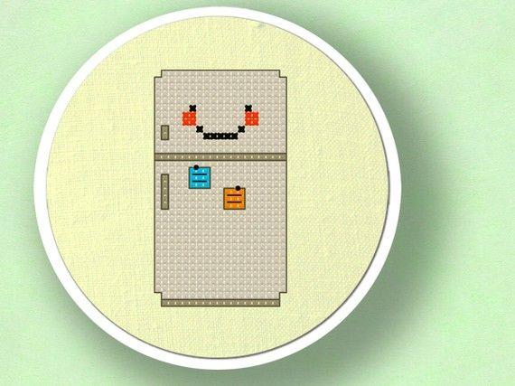Happy Refrigerator. Cross Stitch PDF Pattern