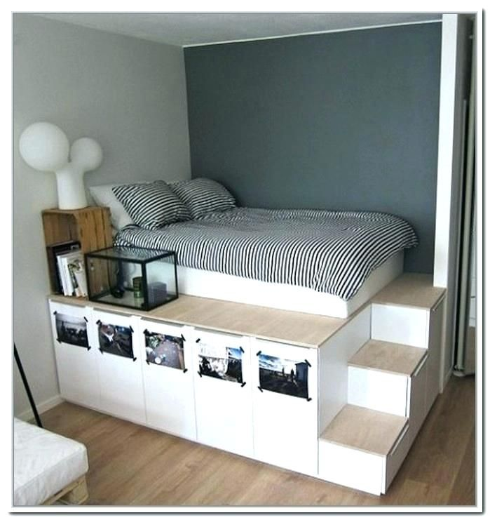 46 High Platform Bed In 2020 Small Space Bedroom Small Bedroom