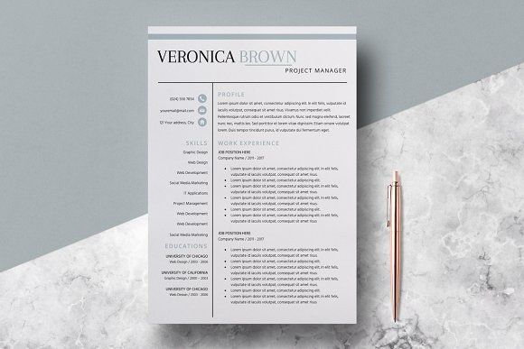 Resume Template/CV/Veronica Brown by LucaTheme on @creativemarket