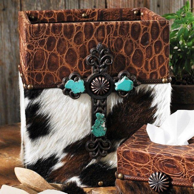 Rustic Wooden Crosses with Cowhide | Cowhide & Croc Leather Waste Basket