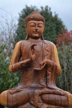 Boeddha Beeld Dharmachakra Hout 60 cm