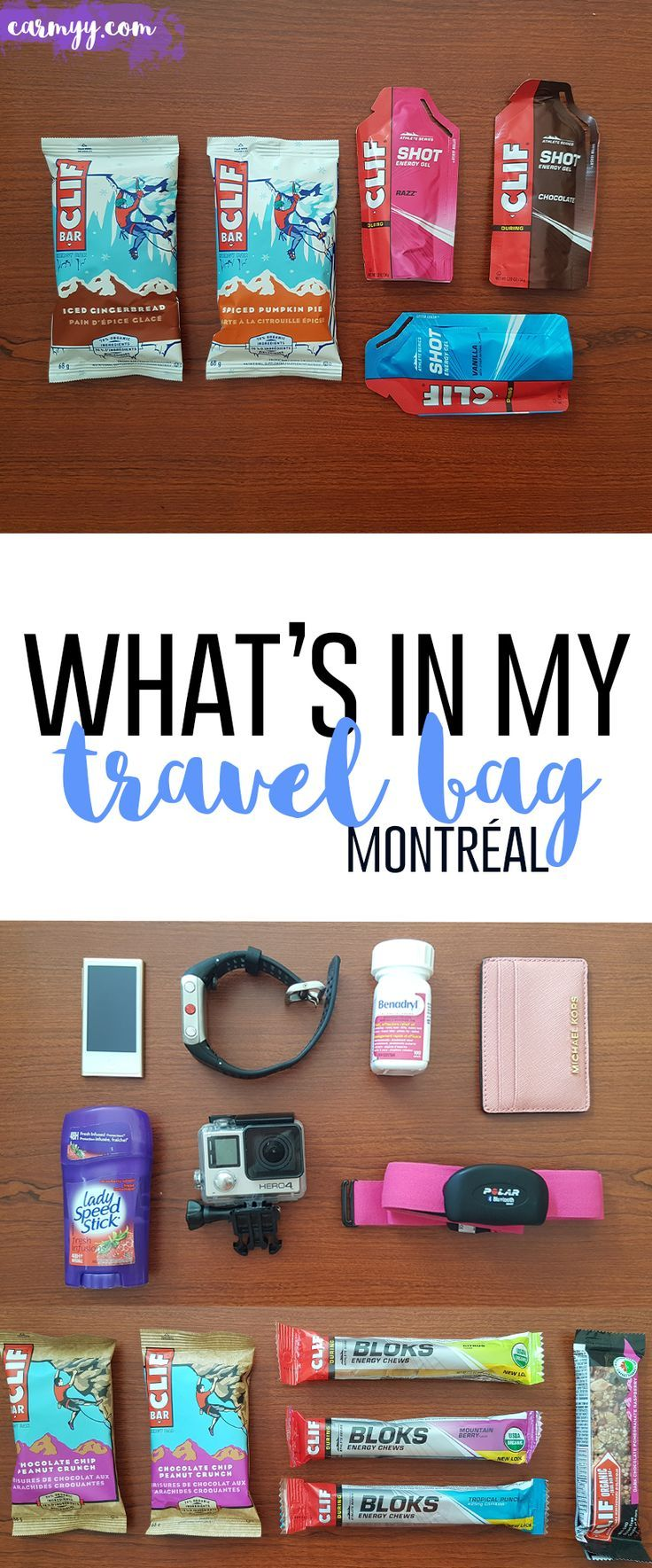It's time to feed my adventure! Guess who's going to Montreal! Come see what's in my travel bag as I try to only pack one carry on. via @runcarmyrun