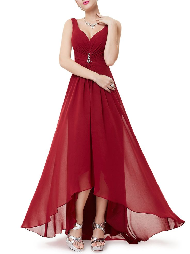 #AdoreWe #StyleWe Designer Maxi Dresses - Designer CICI WANG Solid Sleeveless Gathered Plunging Neck Evening Dress - AdoreWe.com