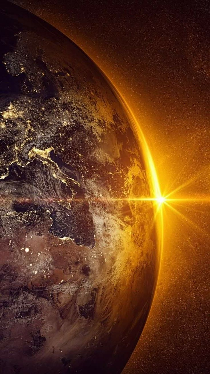 Earth with the sun peaking making it look even more beautiful!