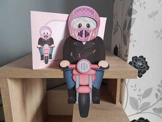 Check out this item in my Etsy shop https://www.etsy.com/uk/listing/540715790/female-biker-birthday-card-decoration